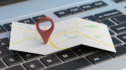 Online maps, gps navigation concept. Map pointer location on a computer laptop. 3d illustration